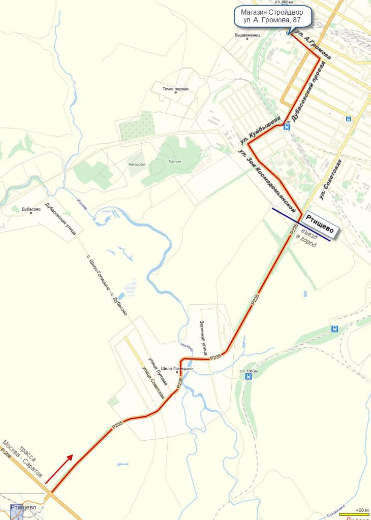Схема проезда в магазин Стройдвор Ртищево